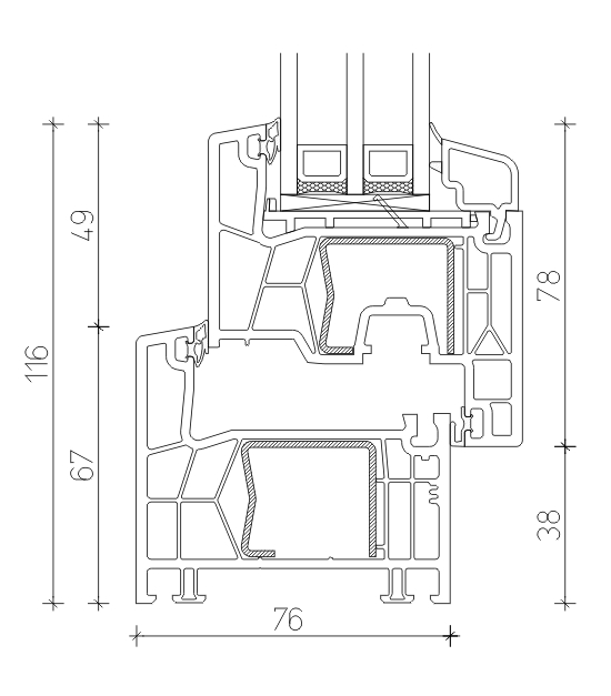 Профиль KBE 76 мм.